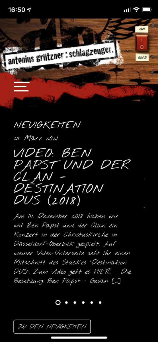 Antonius Grützner: Screenshot mobile Ansicht