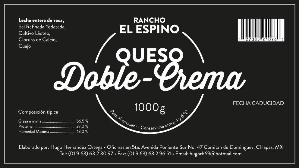 Klebeetikett für Rancho El Espino: Queso Doble-Crema