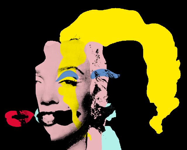 """""""Marilyn Diptych"""" von Andy Warhol; unterteilt in die einzelnen Farbschichten"""