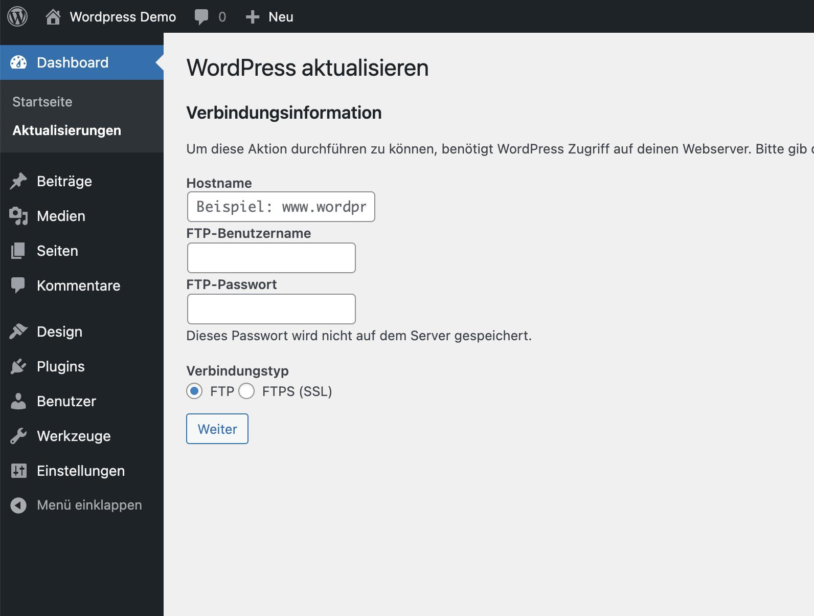 Wordpress: Screenshot FTP Einstellungen
